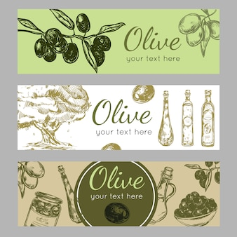 Hand drawn olive oil banner set
