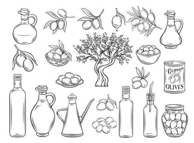 手描きのオリーブ、木の枝、ガラス瓶、水差し、金属ディスペンサー、オリーブオイル。レトロなスケッチスタイルのアウトライン。