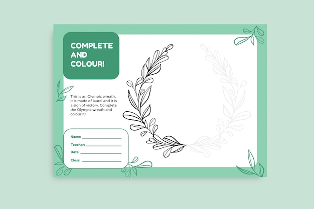 Hand drawn olympic wreath worksheet template