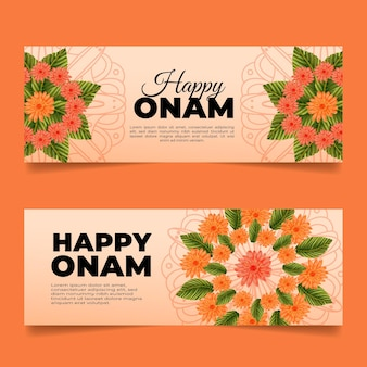 Hand drawn onam banners