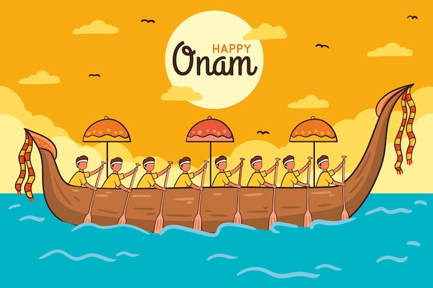 Hand drawn onam concept
