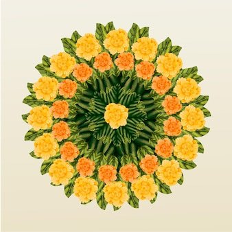 Decorazione floreale onam disegnata a mano