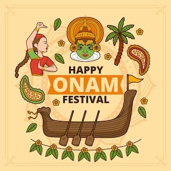 Нарисованная рукой иллюстрация onam