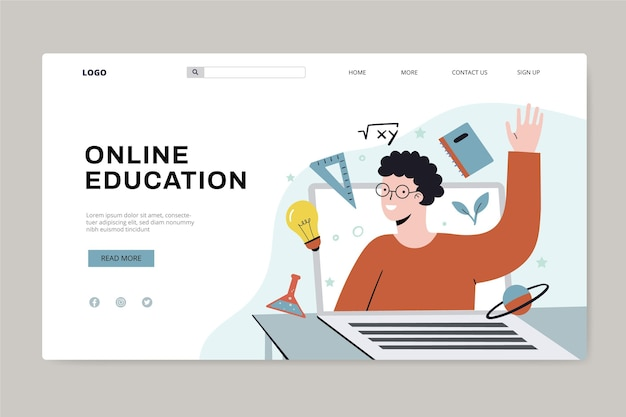 Hand drawn online education landing page
