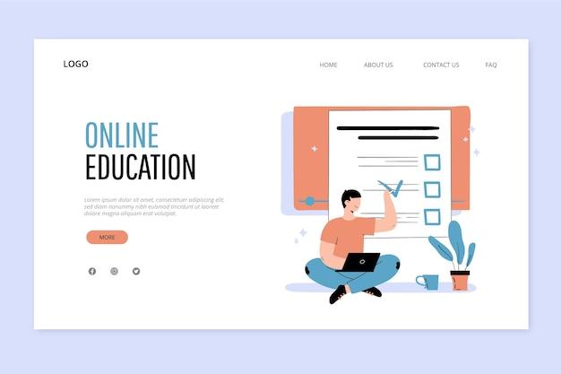 Pagina di destinazione dell'istruzione online disegnata a mano