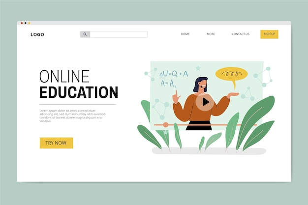 Нарисованная от руки целевая страница онлайн-образования