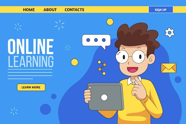 Hand drawn online learning landing page template