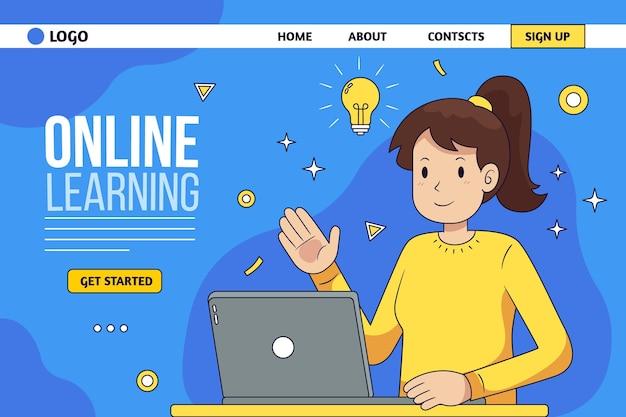 Modello di pagina di destinazione di apprendimento online disegnato a mano