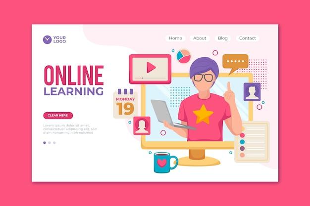 손으로 그린 온라인 학습 방문 페이지 템플릿