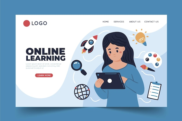Hand drawn online learning landing page