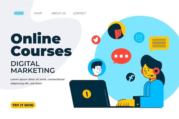Pagina di destinazione di apprendimento online disegnata a mano