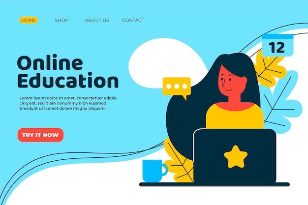 손으로 그린 온라인 학습 방문 페이지