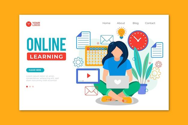 Нарисованная от руки целевая страница онлайн-обучения