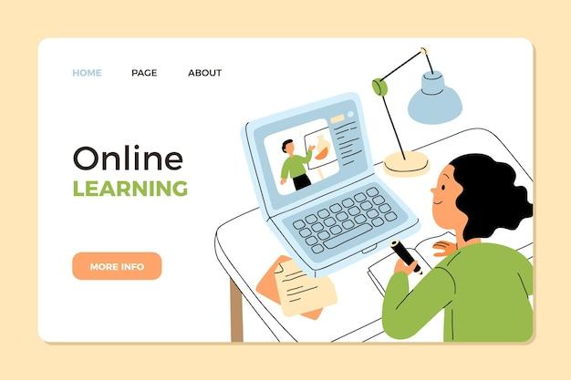 손으로 그린 온라인 학습 웹 템플릿 무료 벡터