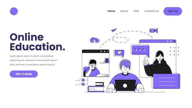 Hand drawn online learning web template