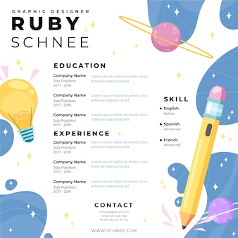 Hand drawn online resume template
