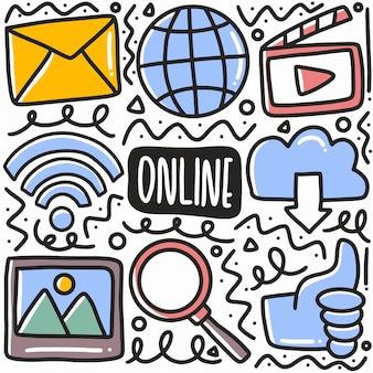Hand drawn online social media doodle set with icons and design elements