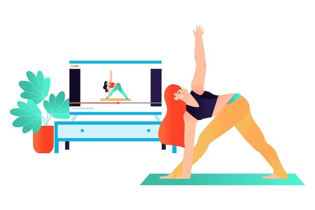 Нарисованная рукой иллюстрация концепции занятия йогой онлайн