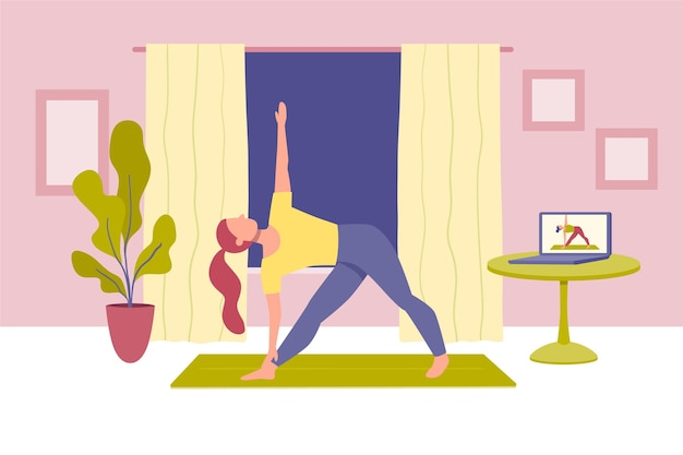 Hand drawn online yoga class concept