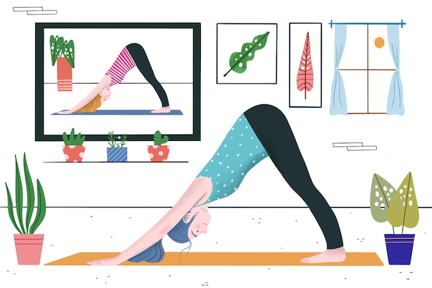 Hand drawn online yoga class concept