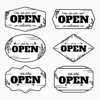 手描きのオープンおよびクローズドサインコレクション