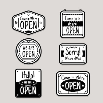 Коллекция рисованной открытых и закрытых знаков