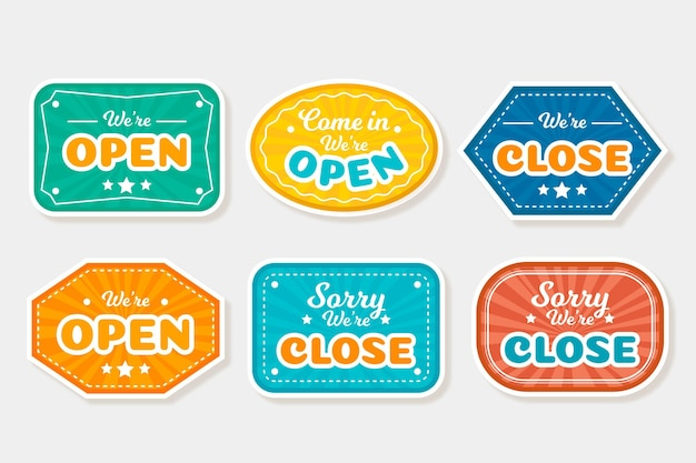 Hand-drawn open and closed sign collection
