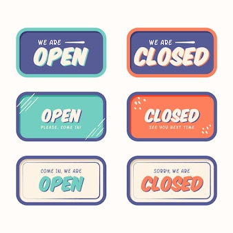 Hand drawn open and closed sign collection