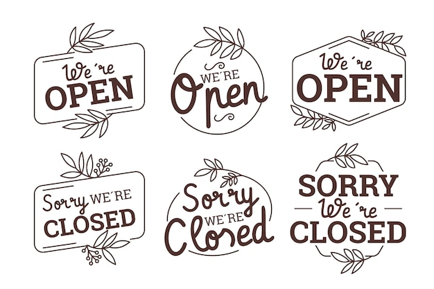 Hand drawn open and closed sign pack