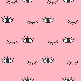 Hand drawn open and winking eyes doodles seamless pattern