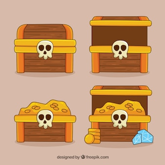 Hand drawn opened and closed treasure box collection