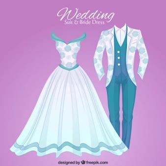 Hand drawn opulent wedding suit and brid dress