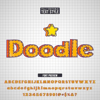 Hand drawn orange doodle crayon markers sketch text font effect collection set