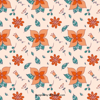 Hand drawn orange flowers pattern
