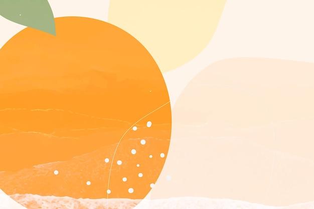 Sfondo di memphis con frutta arancione disegnata a mano