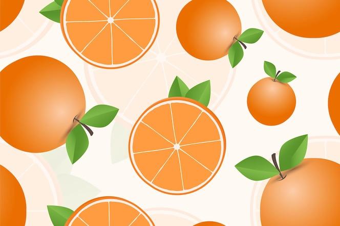 modello senza cuciture di frutta arancione disegnata a mano fruit