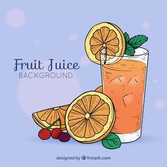 Sfondo di succo d'arancia disegnato a mano