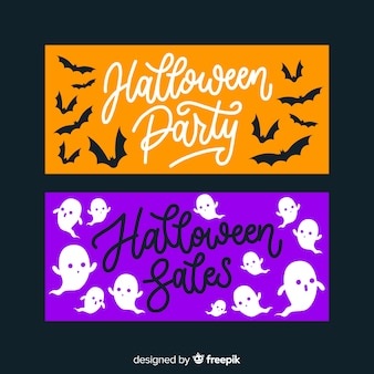Hand drawn orange and purple halloween banners