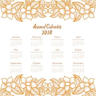 Hand drawn orange & white floral annual calendar