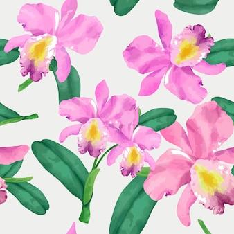 手で描かれた蘭の花のパターン