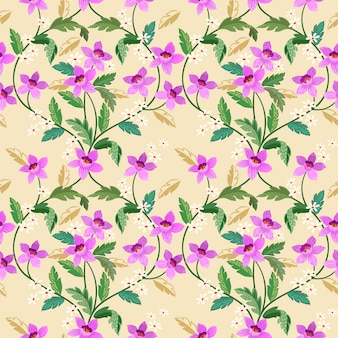 Hand drawn orchids seamless flower pattern on yellow background.