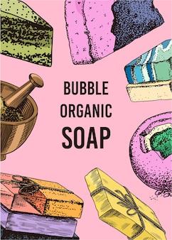 Hand drawn organic bubble soap