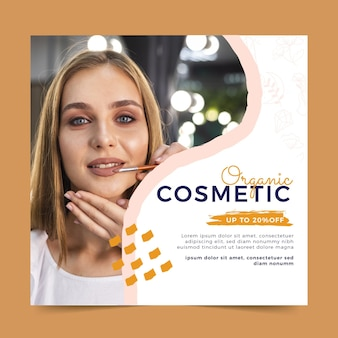 Hand drawn organic cosmetic squared flyer