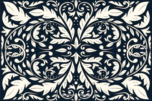 Hand drawn organic damask background