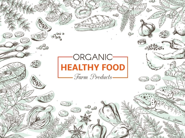 Hand drawn organic food illustration