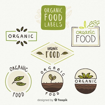 Hand drawn organic food label collection