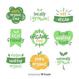 손으로 그린 유기농 식품 라벨 세트