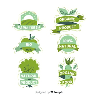Hand drawn organic food labels collection