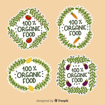 손으로 그린 유기농 식품 로고 팩