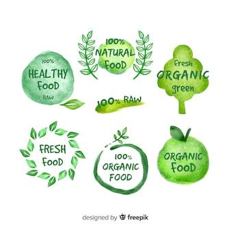 Hand drawn organic food logos pack